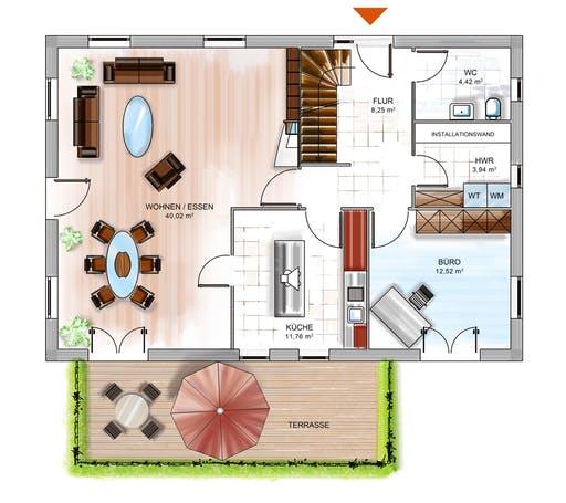 Dennert ICON 4 mit Satteldach Floorplan 1