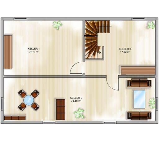 Dennert ICON 4 mit Satteldach Floorplan 3