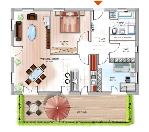 Dennert ICON Bungalow Floorplan 1