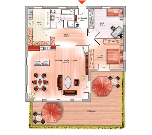 Dennert ICON Winkelbungalow Floorplan 1