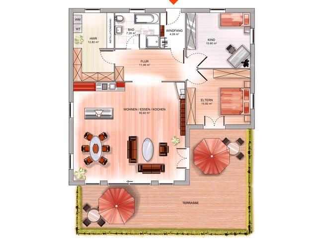 ICON Winkelbungalow von Dennert Massivhaus Grundriss 1