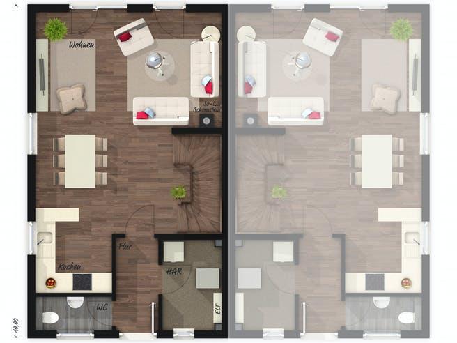 Mainz 128 Doppelhaus Elegance Floorplan 1