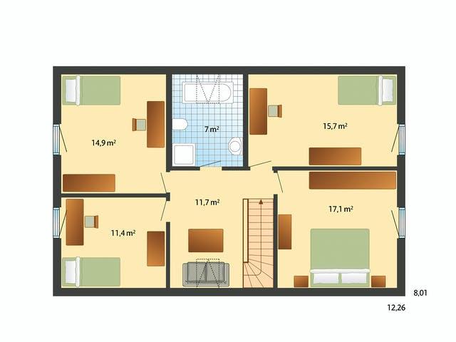 Grundriss 4 Schlafzimmer