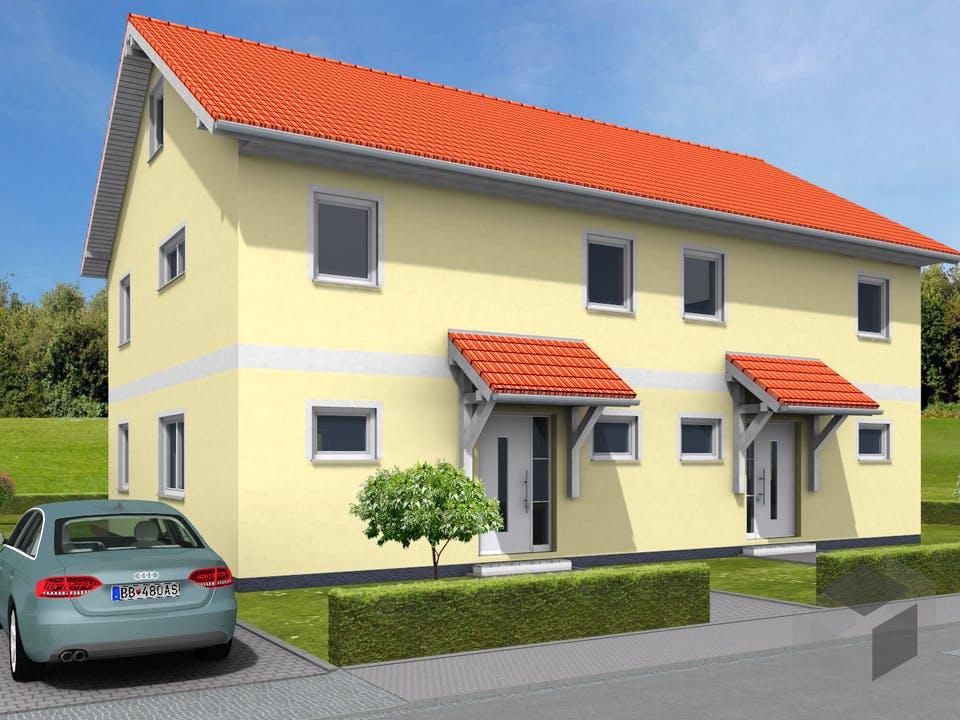 Doppelhaus Mainz von NEWE-Massivhaus Außenansicht