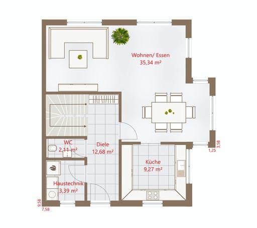 Drevo - Hausidee 122 WD Floorplan 1