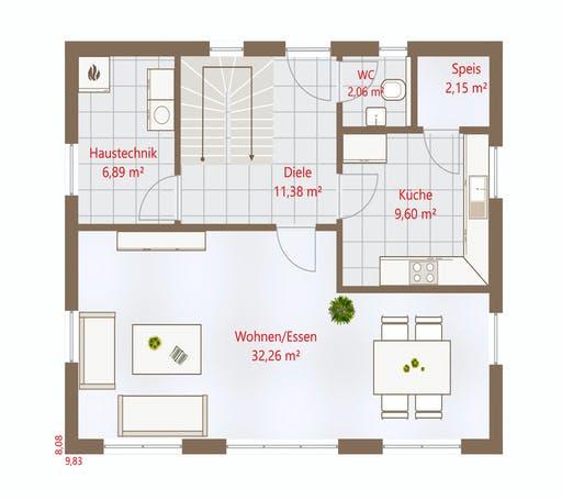 Drevo - Hausidee 128 SD Floorplan 1