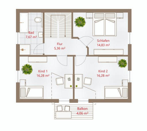 Drevo - Hausidee 128 SD Floorplan 2