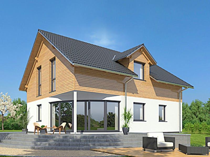 Einfamilienhaus unten Putz oben Holzfassade von Drevo Haus