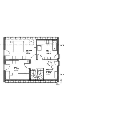 Edition 21 plus Satteldach Modern floor_plans 0