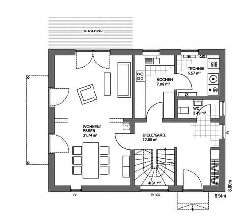 Edition 21 Plus Satteldach Landhaus Floorplan 1