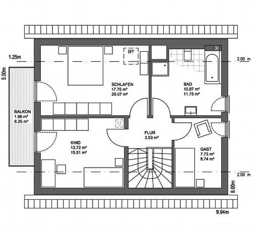 Edition 21 Plus Satteldach Landhaus Floorplan 2