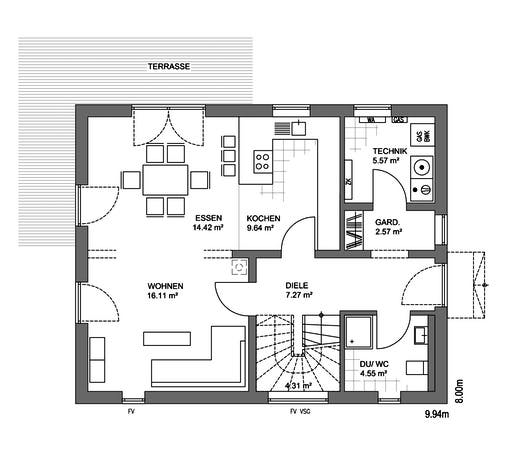 Edition 21 Plus Satteldach Floorplan 1