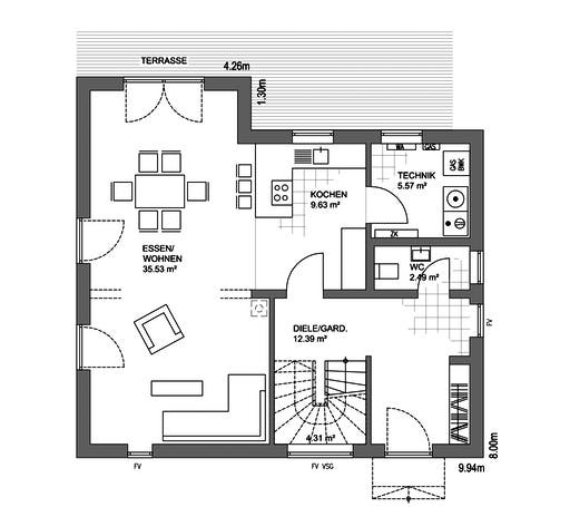 Edition 21 Plus Pultdach Klassik Floorplan 1