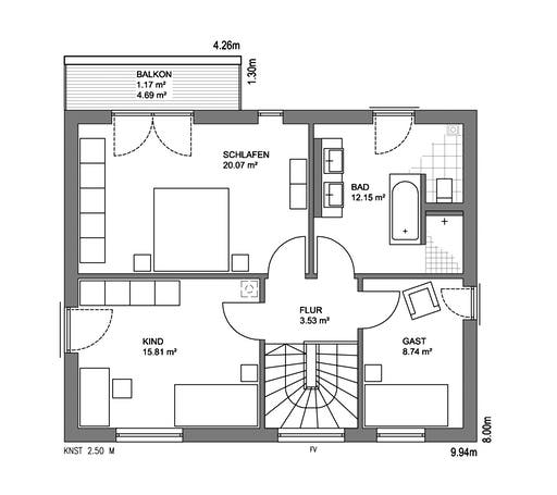 Edition 21 Plus Pultdach Klassik Floorplan 2