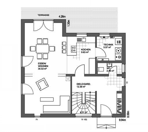 Edition 21 Plus Satteldach Klassik Floorplan 1