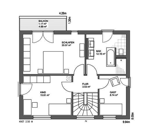 Edition 21 Plus Satteldach Klassik Floorplan 2