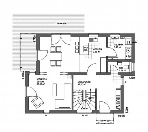 Edition 21 Plus Pultdach Modern Floorplan 1
