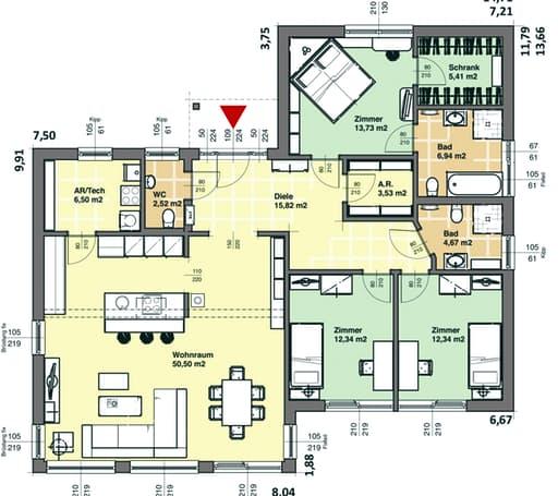 elk bungalow 135 effizienzhaus 55 von elk fertighaus. Black Bedroom Furniture Sets. Home Design Ideas