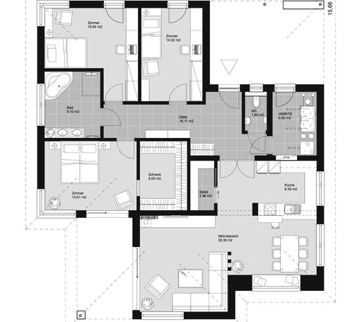 ELK HAUS BU 140 Walmdach Floorplan 1