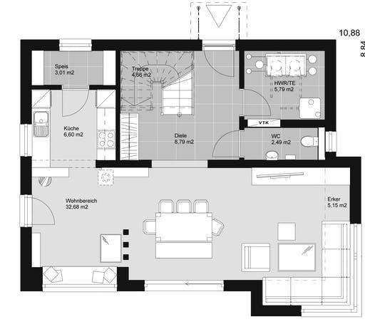 ELK HAUS 130 Satteldach 25 ° Floorplan 1