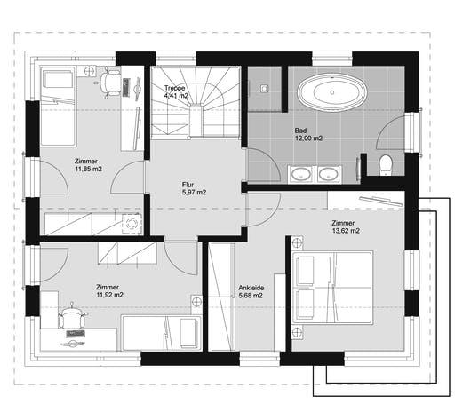 ELK HAUS 130 Satteldach 25 ° Floorplan 2