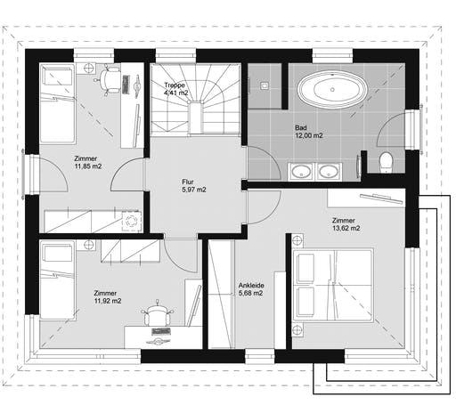 ELK HAUS 130 Walmdach 25° Floorplan 2