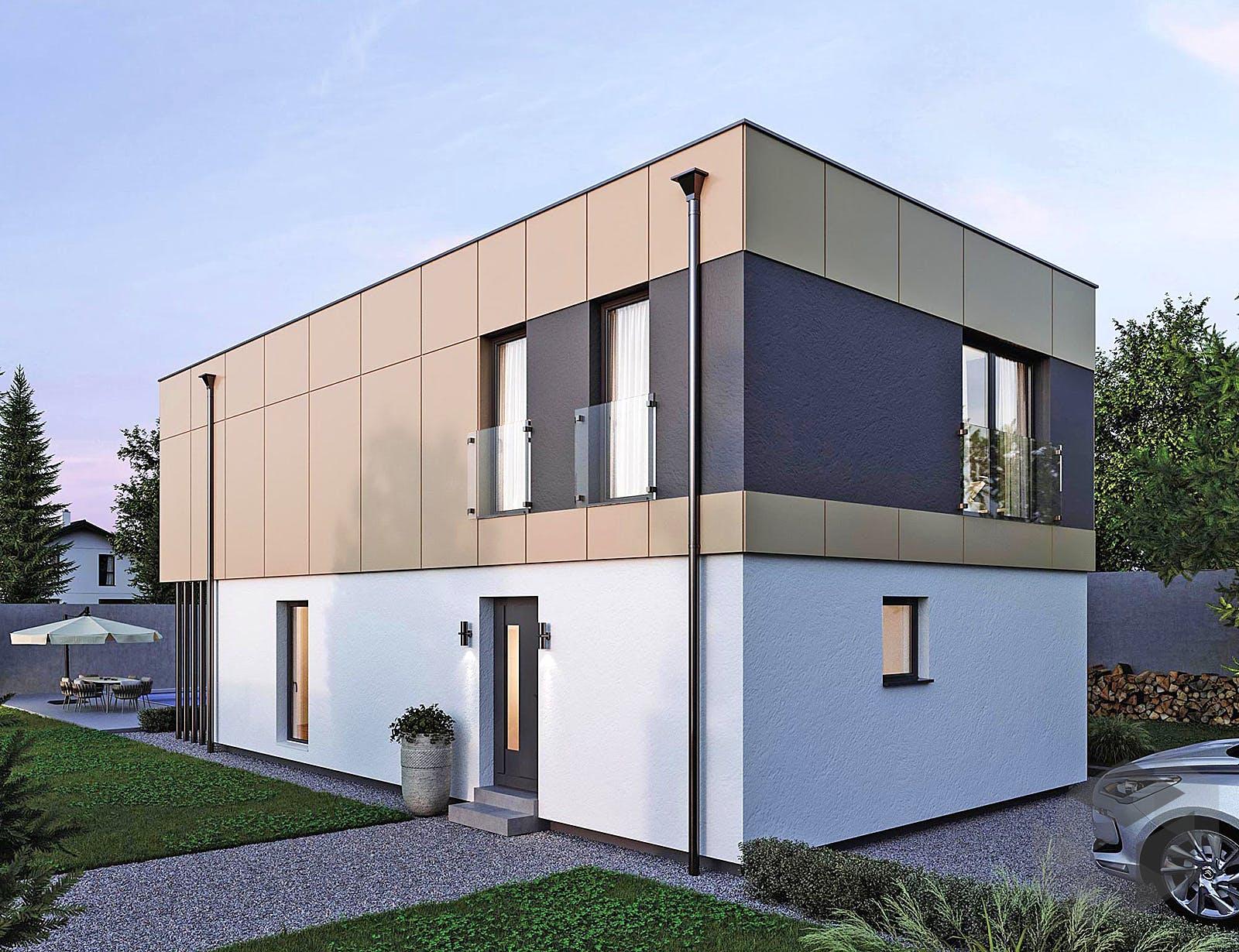 elk haus 132 flachdach von elk fertighaus komplette. Black Bedroom Furniture Sets. Home Design Ideas