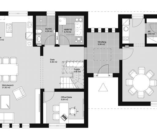 ELK HAUS 153 Satteldach Floorplan 1