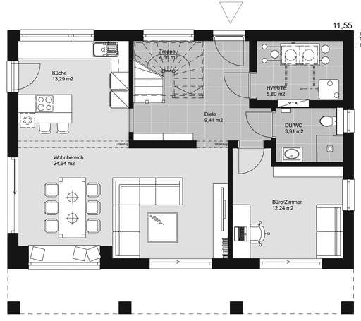 ELK HAUS 158 Flachdach Floorplan 1