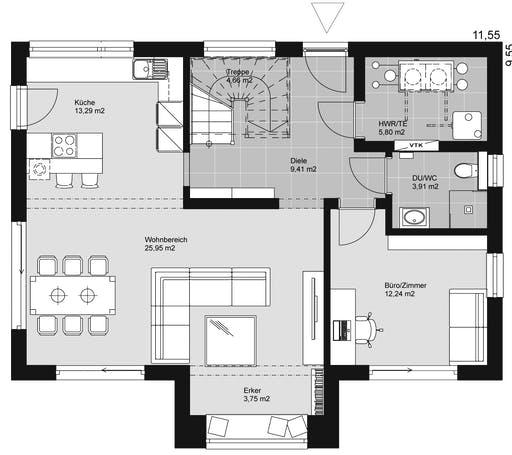 ELK HAUS 158 Satteldach 40° Floorplan 1