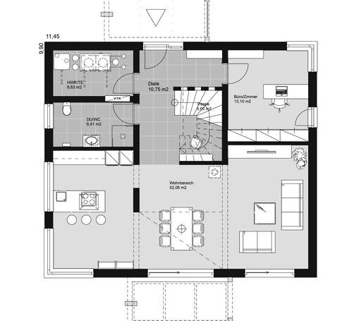 ELK HAUS 189 Walmdach Floorplan 1