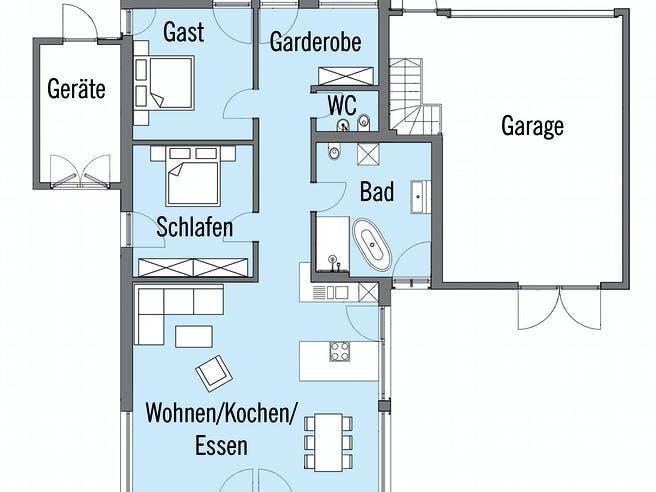 Erstling - Kundenhaus von Baufritz Grundriss 1