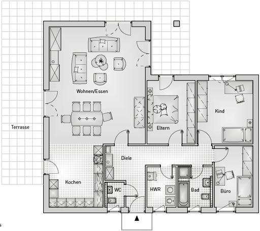 Family 40.12 Bungalow Floorplan 1