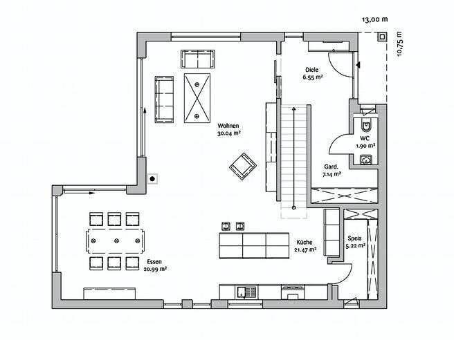 Bauhaus 190 von FischerHaus Grundriss 1