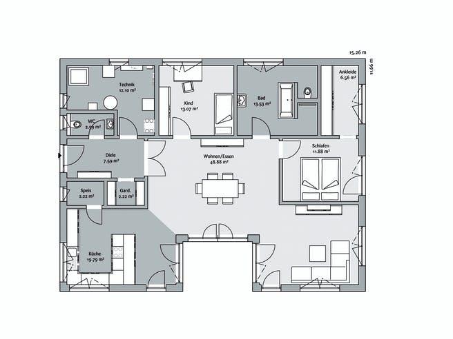 Fischerhaus - Bungalow 138 Floorplan 1