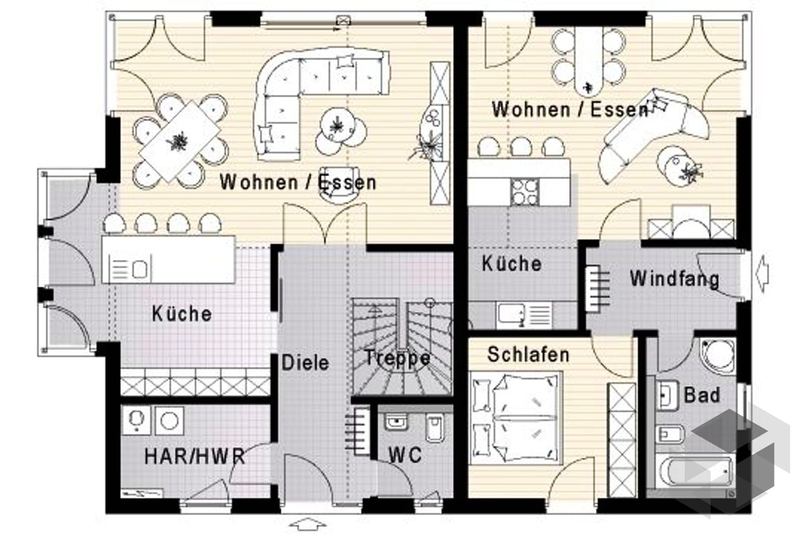 Fn 104 134 b v3 effizienzhaus 55 von okal haus for Zweifamilienhaus plan