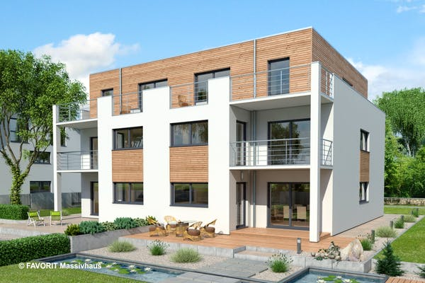 Massives Mehrfamilienhaus mit 4 Wohneinheiten und einer Holzverkleidung
