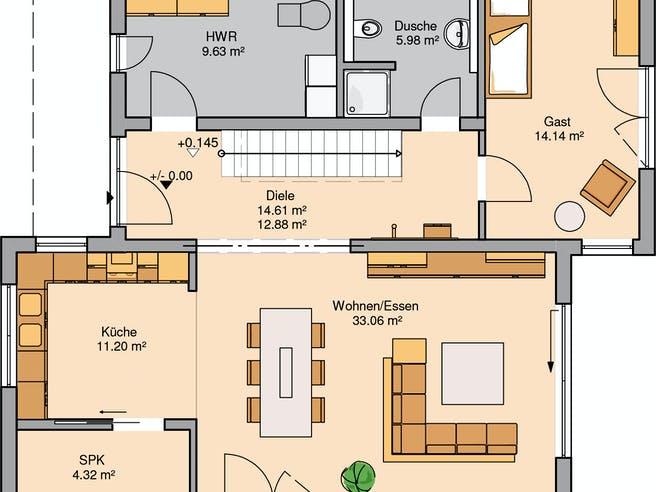 Bauhaus Futura von Kern-Haus Grundriss 1