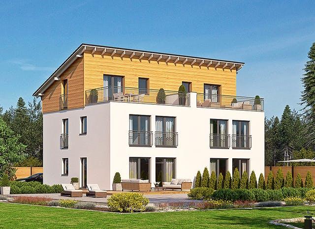Haus mit einfachem Pultdach und Dachterrasse