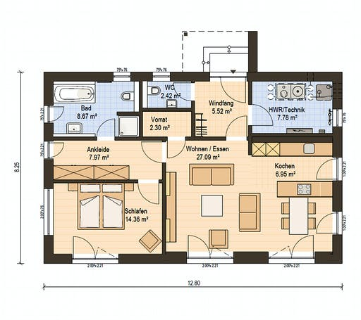 Haas Fertigbau - BT 84 A Floorplan 1