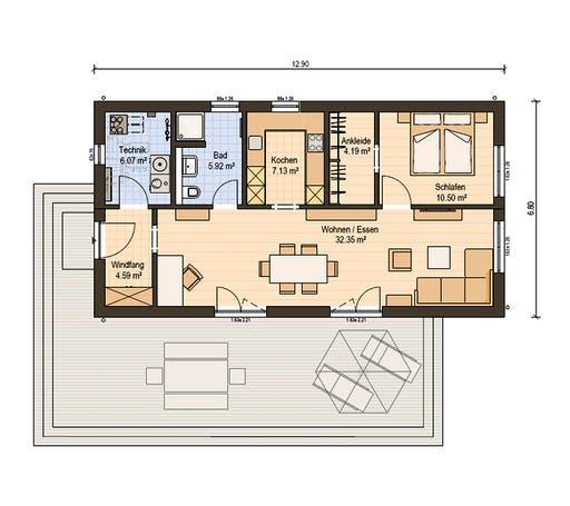 Haas Fertigbau - FH 71 A Floorplan 1