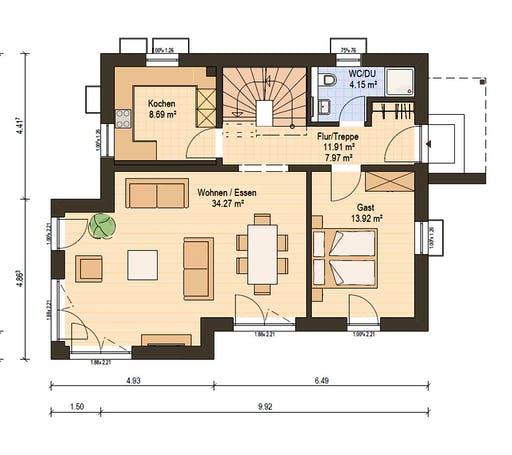 Haas Fertigbau - S 130 D Floorplan 1