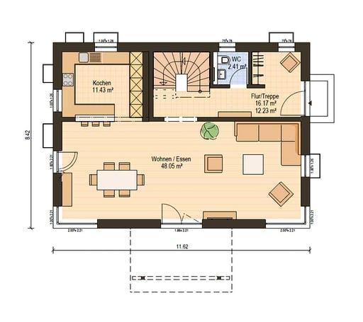 Haas Fertigbau - S 154 A Floorplan 1