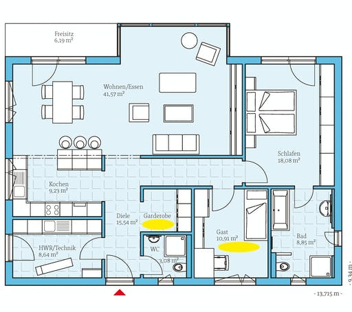 Hanse - Bungalow 122 Floorplan 1