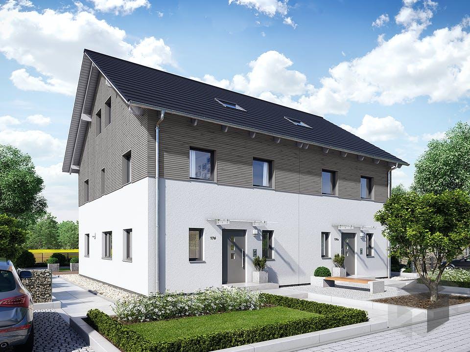 Doppelhaus 35-176 von Hanse Haus Außenansicht