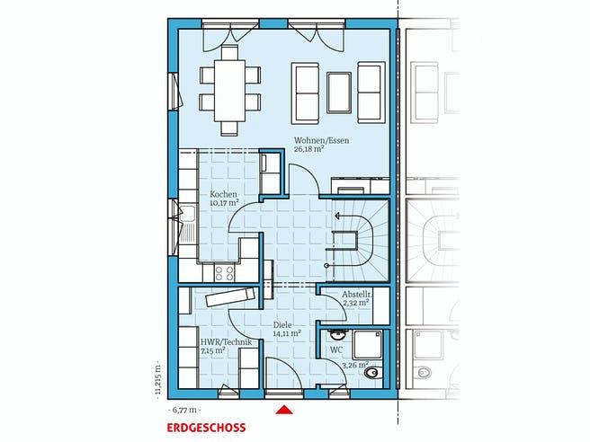 Doppelhaus 35-176 von Hanse Haus Grundriss 1