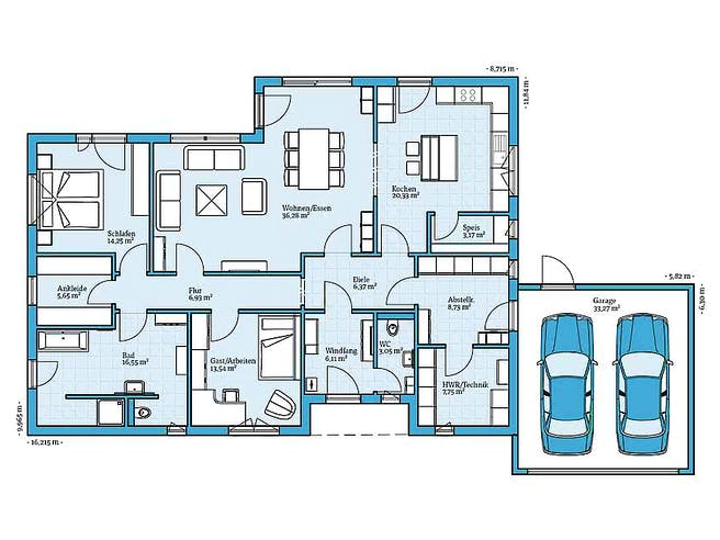Hanse - Bungalow 148 Floorplan 1