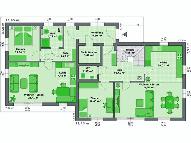 Ambition 152 S + ELW von HARTL Haus Grundriss 1