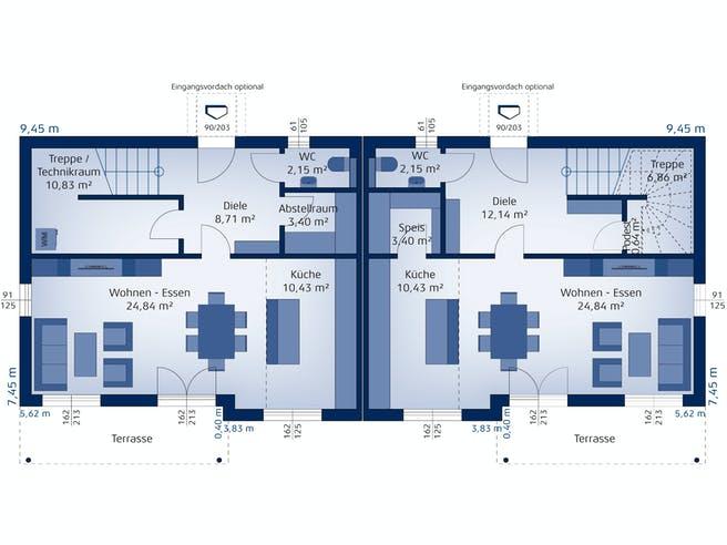 Doppelhaus 120 S von HARTL Haus Grundriss 1
