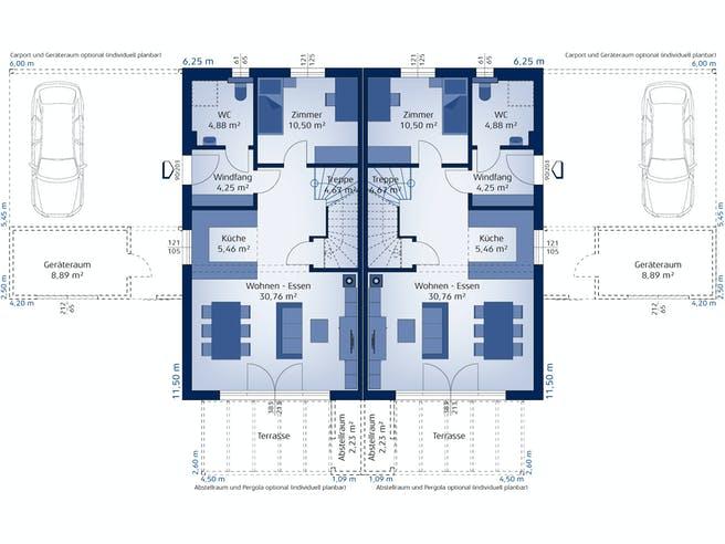 Doppelhaus 120 W von HARTL Haus Grundriss 1